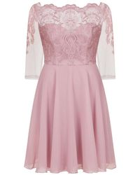 Evans - **chi Chi London Rose Gold Embroidered Dress - Lyst