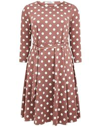 Evans - Neutral Spot Tie Waist Dress - Lyst