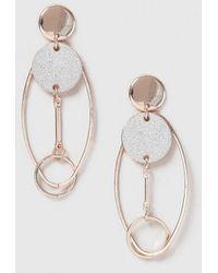 Evans - Rose Gold Modern Drop Earrings - Lyst