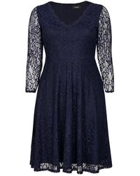Evans - Navy Blue Lace Fit And Flare Dress - Lyst