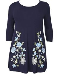 Evans - Navy Blue Floral Print Swing Tunic Top - Lyst