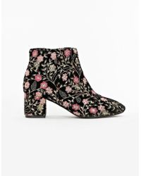 Evans - Wide Fit Black Embroidered Ankle Boots - Lyst
