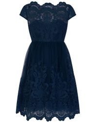 Evans - **chi Chi London Navyblue Lace Skater Dress - Lyst