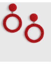 c94e1d32f TOPSHOP Red Seedbead Double Loop Drop Earrings in Red - Lyst