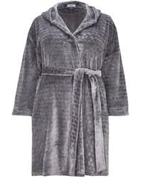 Evans - Silver Hooded Dressing Gown - Lyst