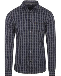 Armani Jeans - Long Sleeve Checked Shirt - Lyst