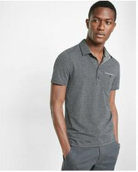 Express - Chambray Placket Jacquard Signature Polo - Lyst