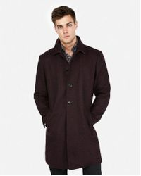 Express - Burgundy Recycled Wool-blend Topcoat - Lyst