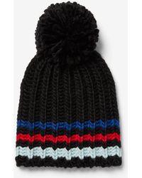 Express - Striped Pom Beanie - Lyst