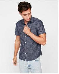 Express - Slim Space Dyed Slub Short Sleeve Shirt - Lyst