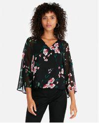 Express - Floral V-neck Kimono Sleeve Blouse - Lyst