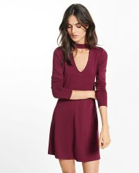 4d16a78479 Lyst Express Cut Out V Neck Soft Skater Dress In Purple