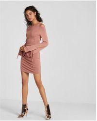 Express   Flared Sleeve Cold Shoulder Ruched Dress   Lyst
