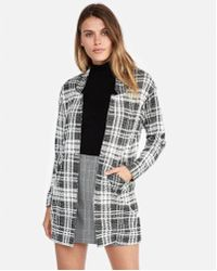 Express - Petite Plaid Tailored Knit Blazer - Lyst