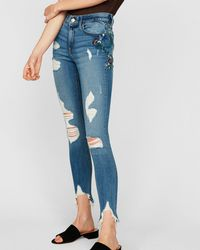 Express - Mid Rise Floral Embroidered Ankle Jeggings, - Lyst