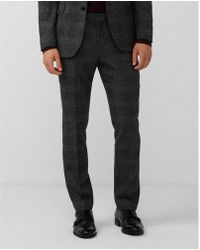 Express - Slim Charcoal Plaid Wool-blend Suit Pant - Lyst