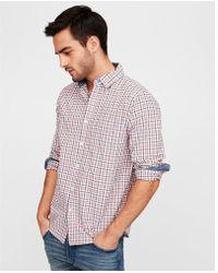 Express - Classic Fit Soft Wash Plaid Shirt - Lyst
