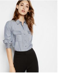 Express - Etite Soft Striped Button Down City Shirt - Lyst
