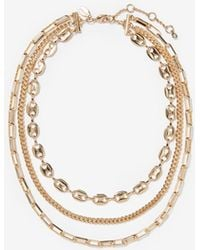 Express - Three Row Layered Chain Necklace - Lyst