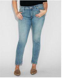 Express - Mid Rise Light Wash Stretch Jean Leggings, Women's Size:00 Short - Lyst