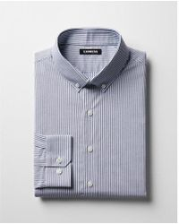 Express - Slim Striped Button-collar Dress Shirt - Lyst