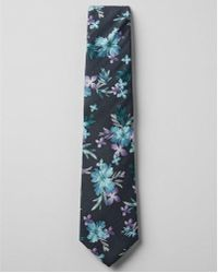 Express - Skinny Silky Floral Tie - Lyst