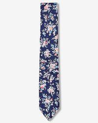 Express - Slim Floral Patterned Silk Tie - Lyst