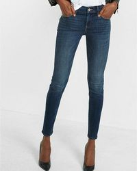 Express - Mid Rise Dark Wash Stretch+ Skinny Jeans, Women's Size:16 Short - Lyst