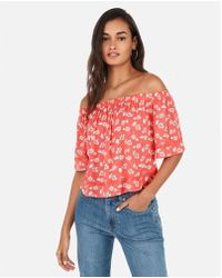 b3f8e575c70dc4 Lyst - Express Off-the-shoulder Tie-front Blouse in Red