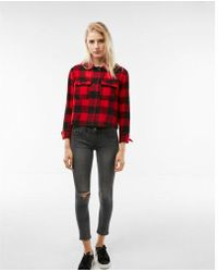 Express - Cropped Flannel Shacket - Lyst