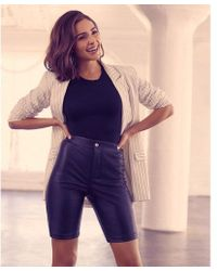 Express - Olivia Culpo High Waisted Faux Leather Bermuda Shorts - Lyst