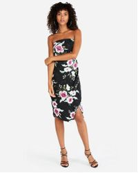 Express - Floral High Slit Tube Dress - Lyst