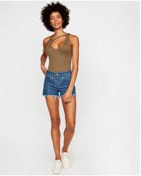 Express - High Waisted Zip Front Cutoff Original Denim Shorts - Lyst