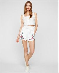 Express - High Waisted Eyelet Paperbag Shorties - Lyst