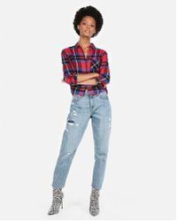 Express - Plaid Cropped Flannel Shirt - Lyst