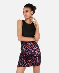 Express - High Waisted Aztec Sequin Mini Stretch Skirt - Lyst
