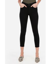 Express - High Waisted Black Cropped Jeggings, - Lyst