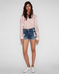 Express High Waisted Relaxed Distressed Stretch+ Denim Shorts Blue