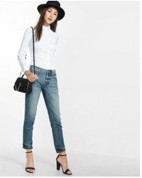 Express - Fitted Long Sleeve Essential Shirt Bodysuit - Lyst
