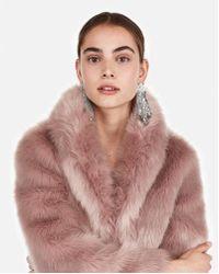 Express - Petite Long Faux Fur Coat - Lyst