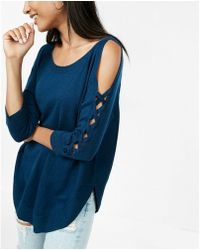 Express - Lace-up Cold Shoulder Extreme Circle Hem Jumper - Lyst