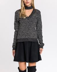 Express - Endless Rose Metallic Choker Sweater Black - Lyst
