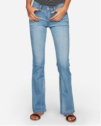 Express - Mid Rise Thick Stitch Bootcut Jeans, - Lyst