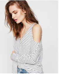 Express - Striped Cold Shoulder V-neck Tee - Lyst