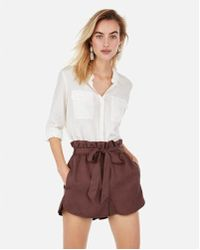 Express - High Waisted Paperbag Utility Shorts - Lyst
