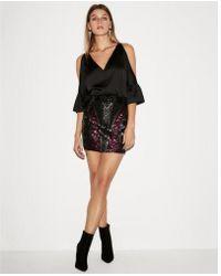 Express - Petite High Waisted Geometric Sequin Mini Skirt - Lyst