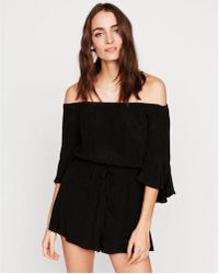 Express - Solid Off The Shoulder Bell Sleeve Romper - Lyst