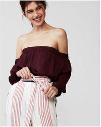 Express - High Waisted Stripe Tie Waist Wide Leg Dress Pant - Lyst