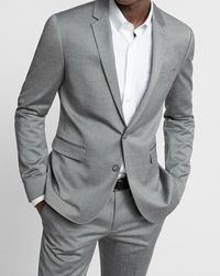 Express - Big & Tall Extra Slim Gray Wool Blend Oxford Suit Jacket Gray - Lyst