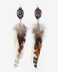 Express - Beaded Pendant Feather Drop Earrings - Lyst